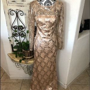 Eliza J champagne gold formal mother of bride gown